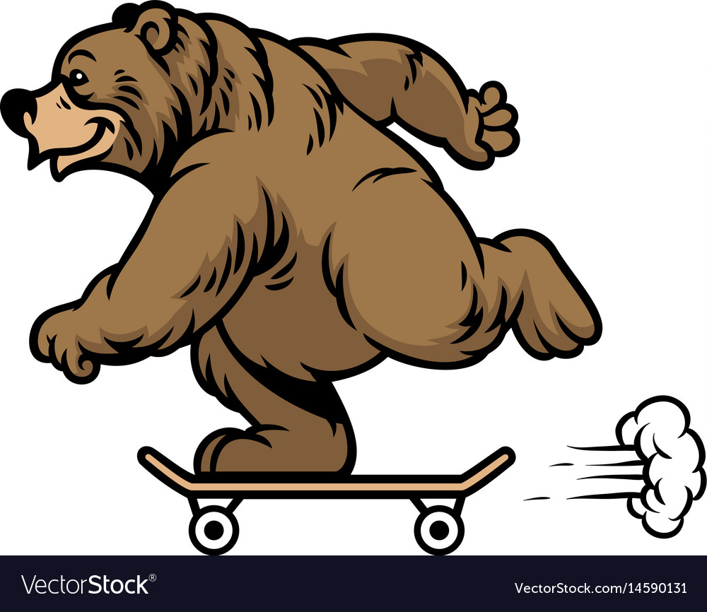Grizzly bear riding skateboard vector image
