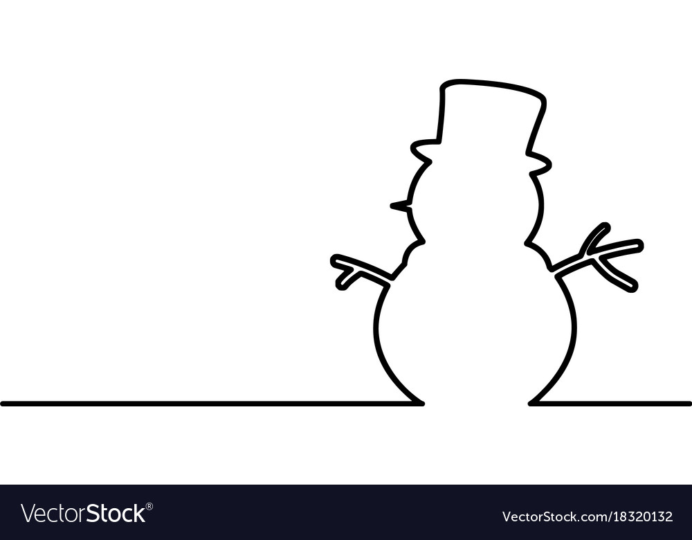 Snowman black line isolated on white vector image