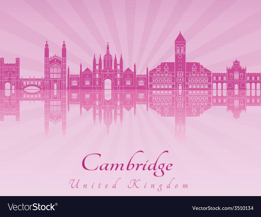 Cambridge skyline in purple radiant orchid in vector image