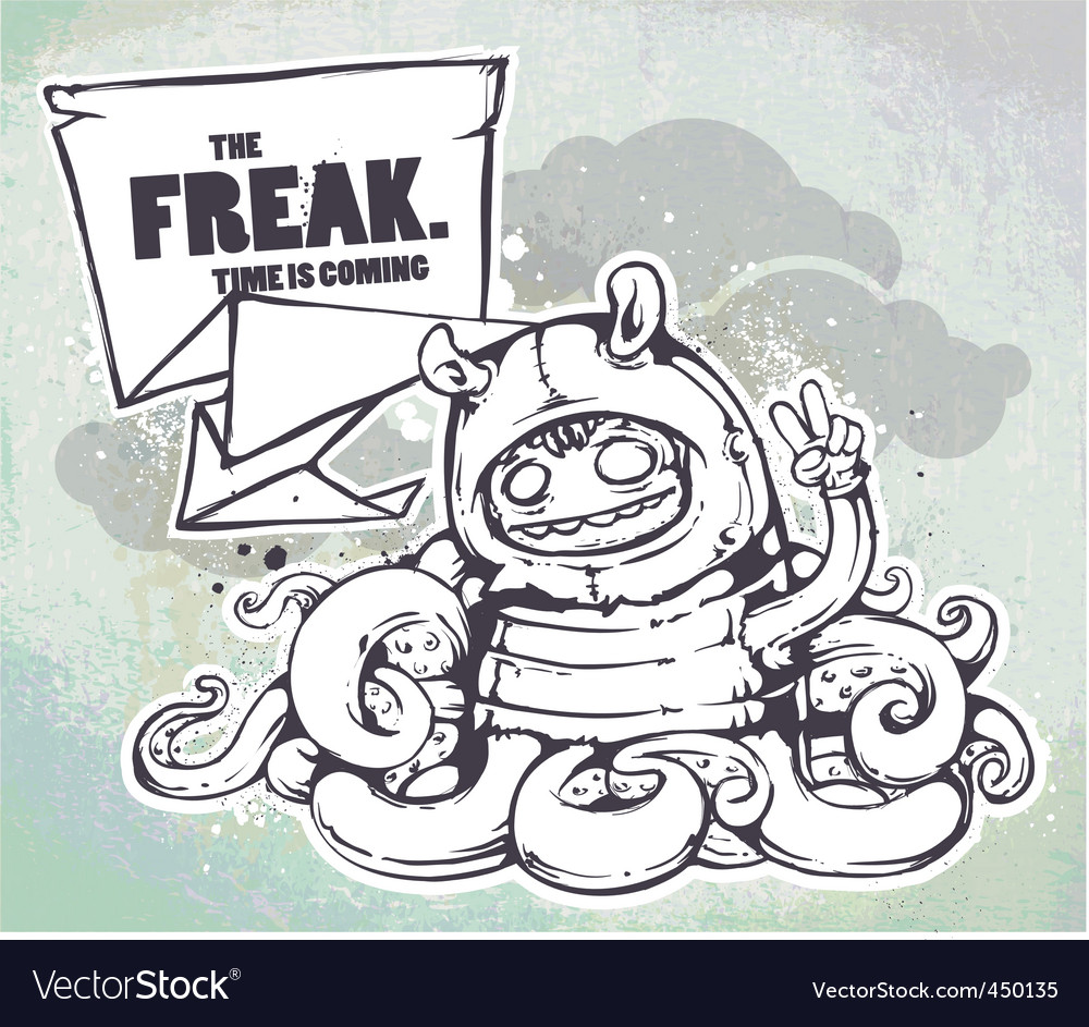 Hand drawn freak vector image