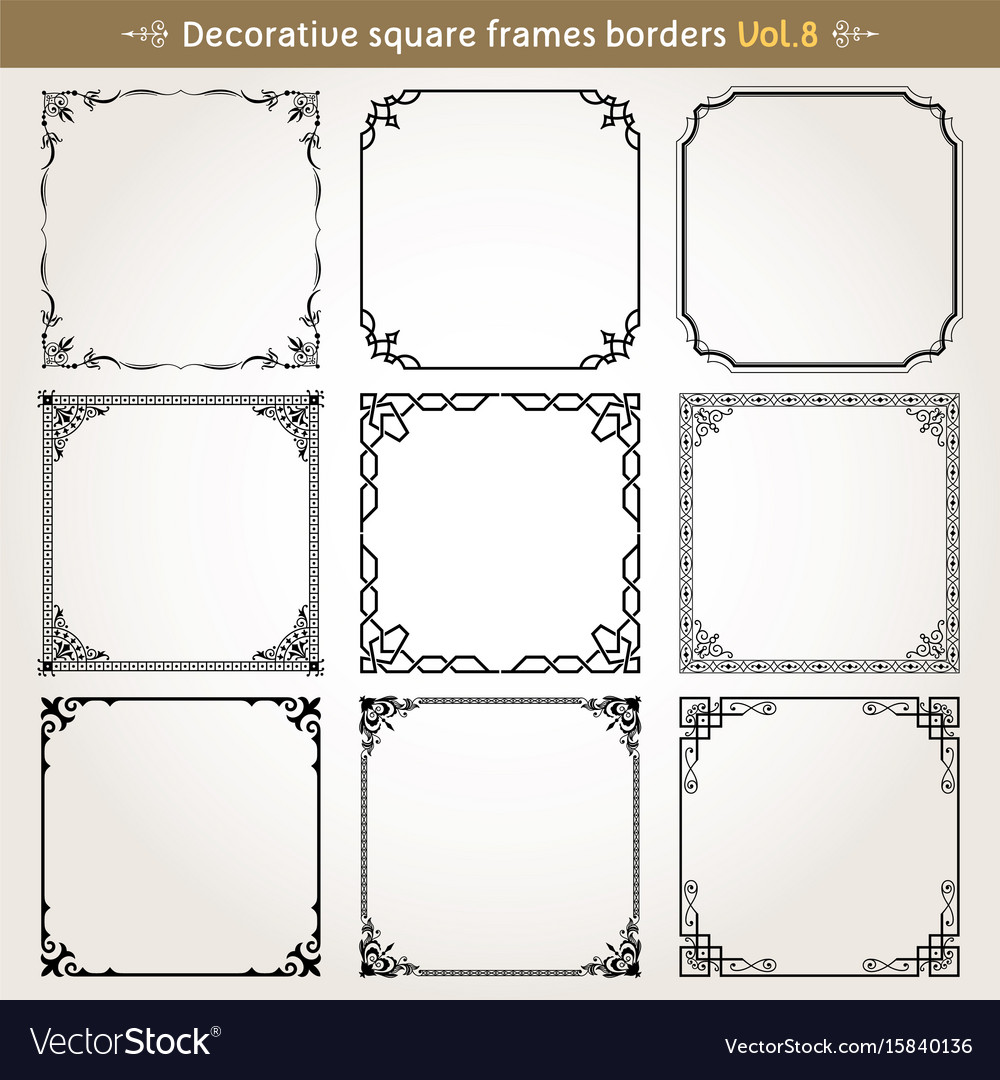 Decorative square frames and borders set 8 vector image