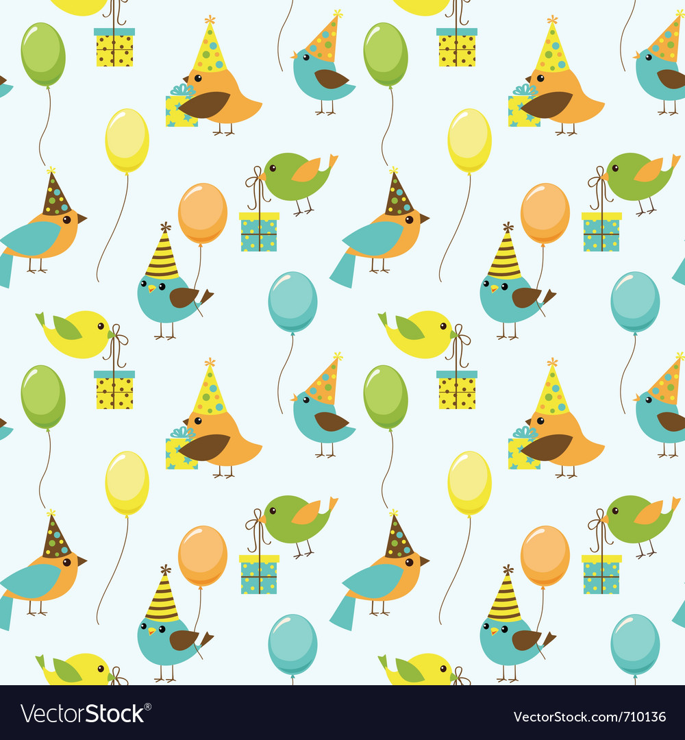 Party birds pattern vector image