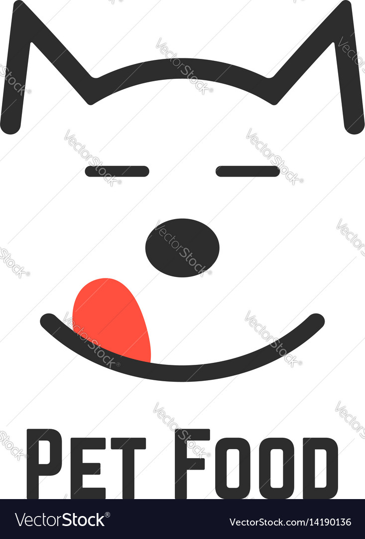 Pet food logo with dog icon vector image