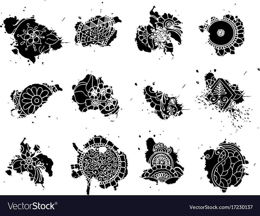 Tattoo henna blots set vector image