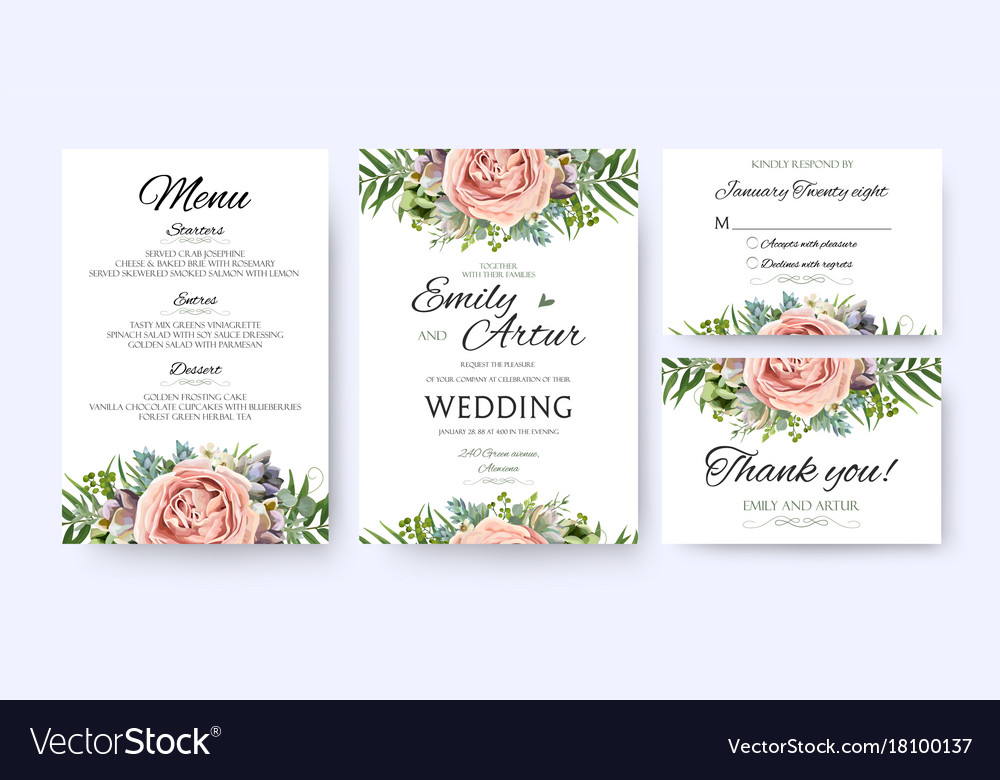 Wedding invitation floral invite card design vector image stopboris Image collections