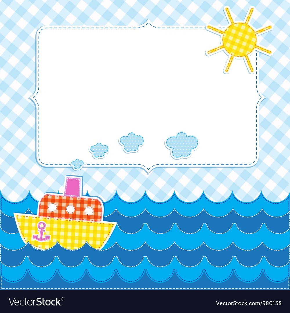 Frame with cartoon ship vector image
