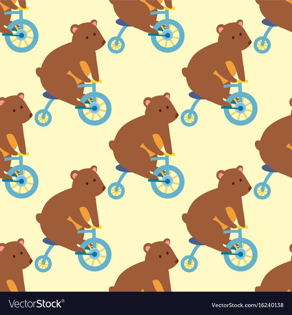 Circus funny performance bear animal vector image