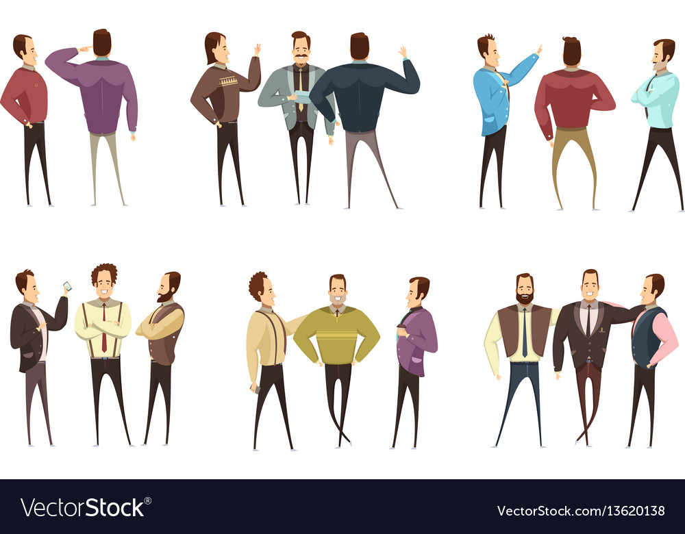 Groups of businessmen cartoon style set vector image
