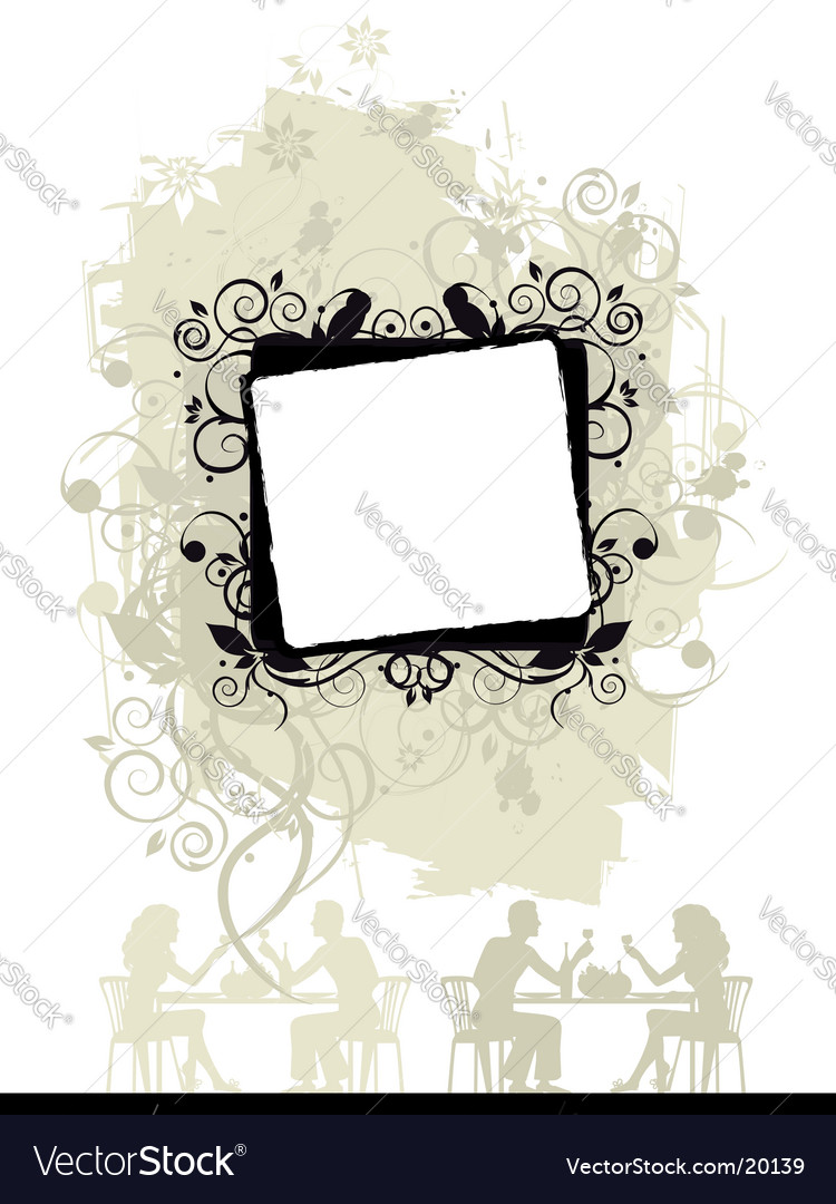 Floral frame silhouette vector image