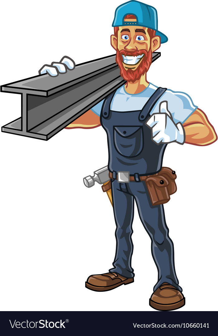 Hipster Repairman Cartoon Character Design vector image