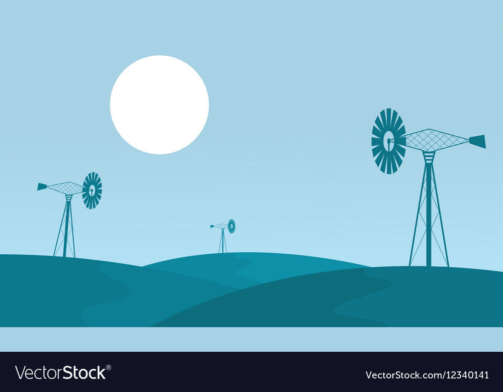 Landscape of windmill on the hill vector image