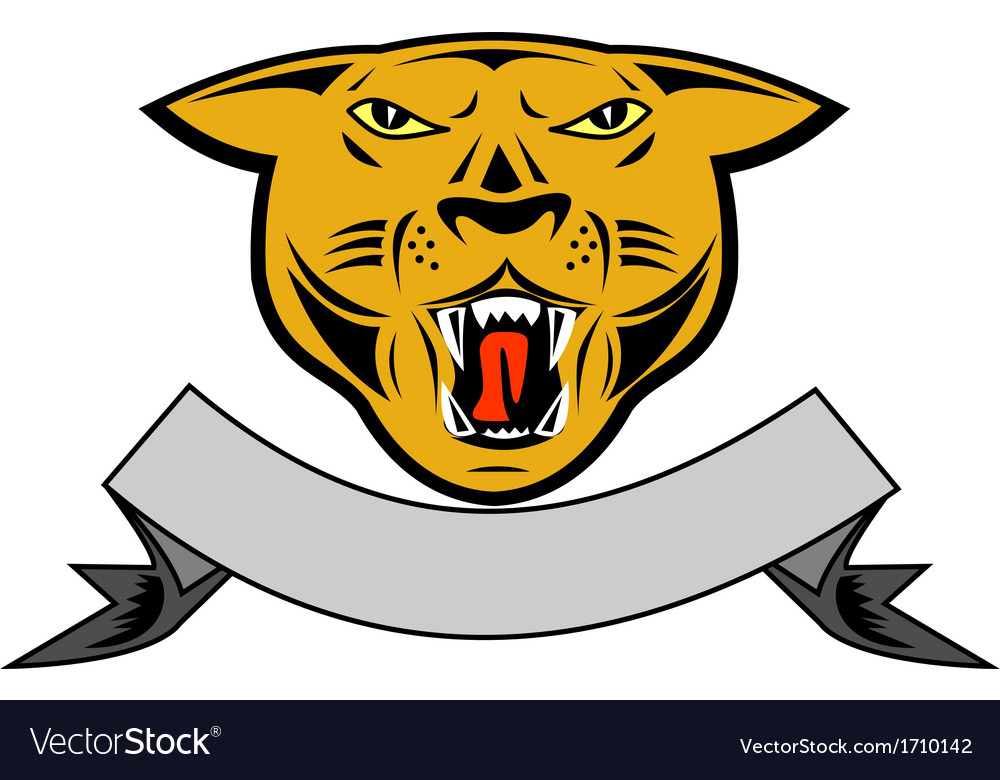 Puma Big Cat Growl Head Isolated Vector Image