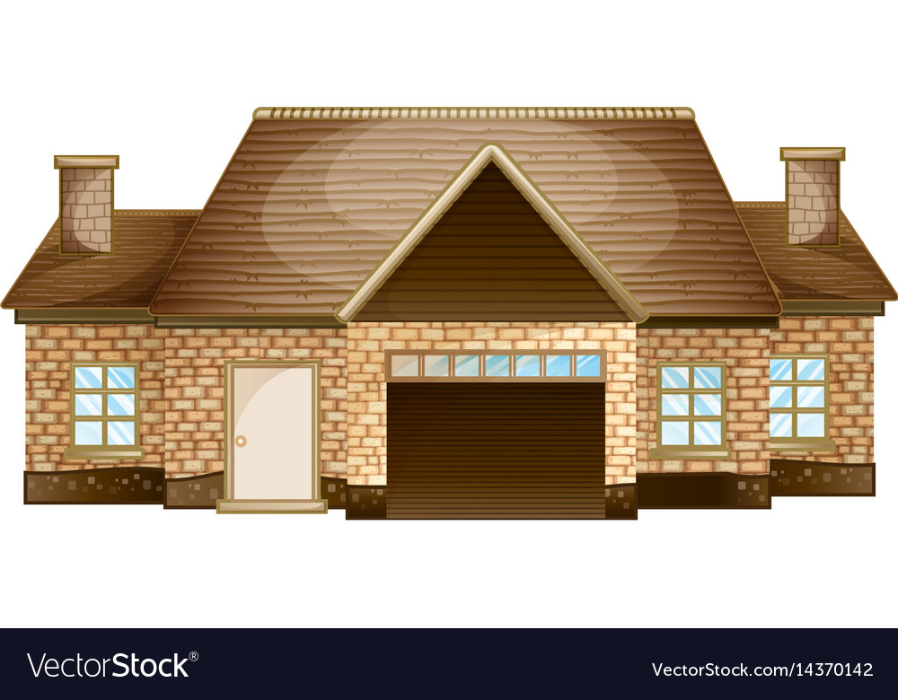 Wooden cottage made of bricks vector image
