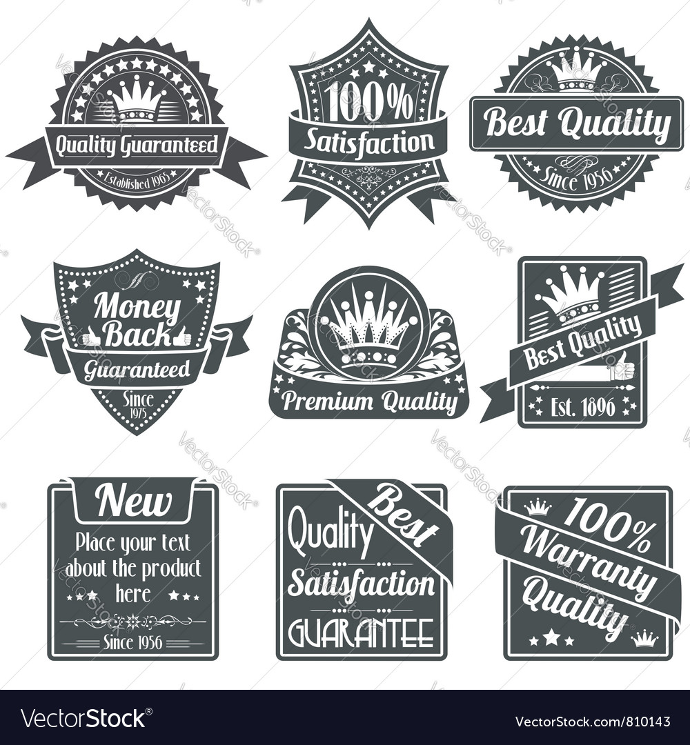 Best Quality and Guarantee Labels vector image