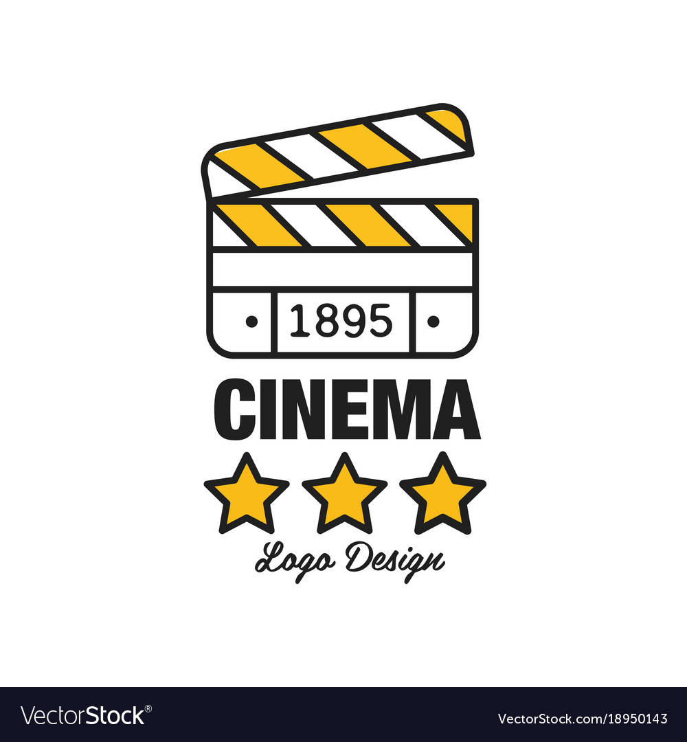 Black and yellow cinema or movie logo template vector image