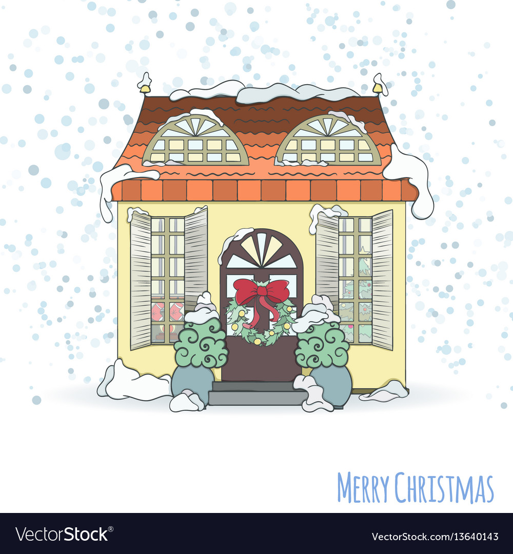 Christmas and new year house invitation card vector image stopboris Images