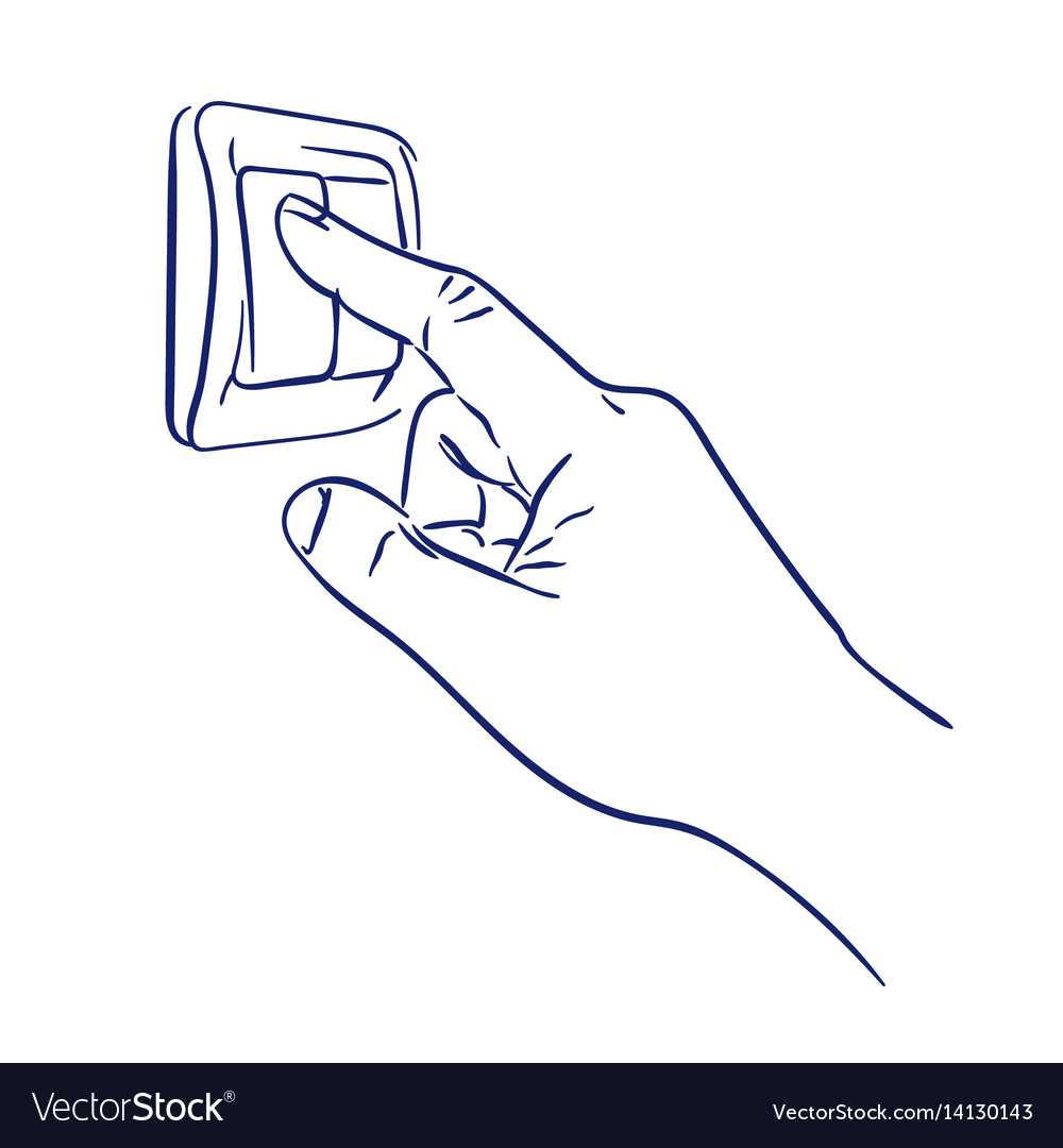 Turn the light switch on hand Royalty Free Vector Image