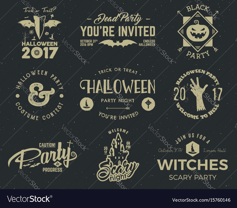 Halloween 2017 party label templates with scary vector image