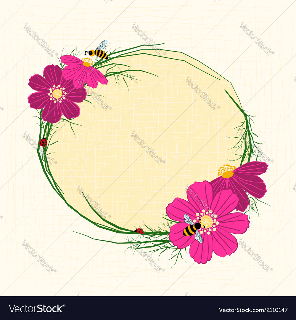 Springtime Cosmos Flower with Bees Background vector image