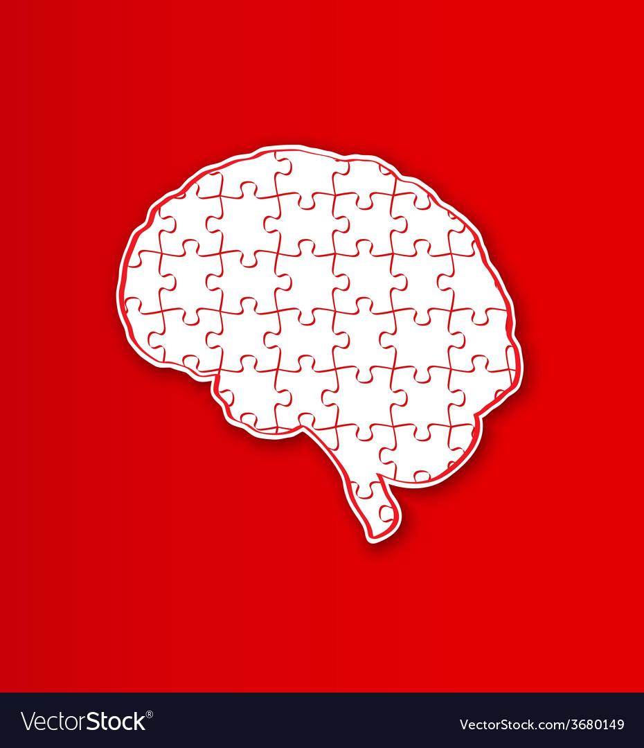 Human puzzle brain vector image