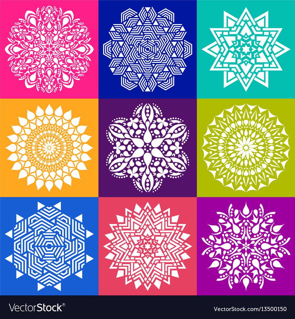 Geometric abstract mandala collection vector image