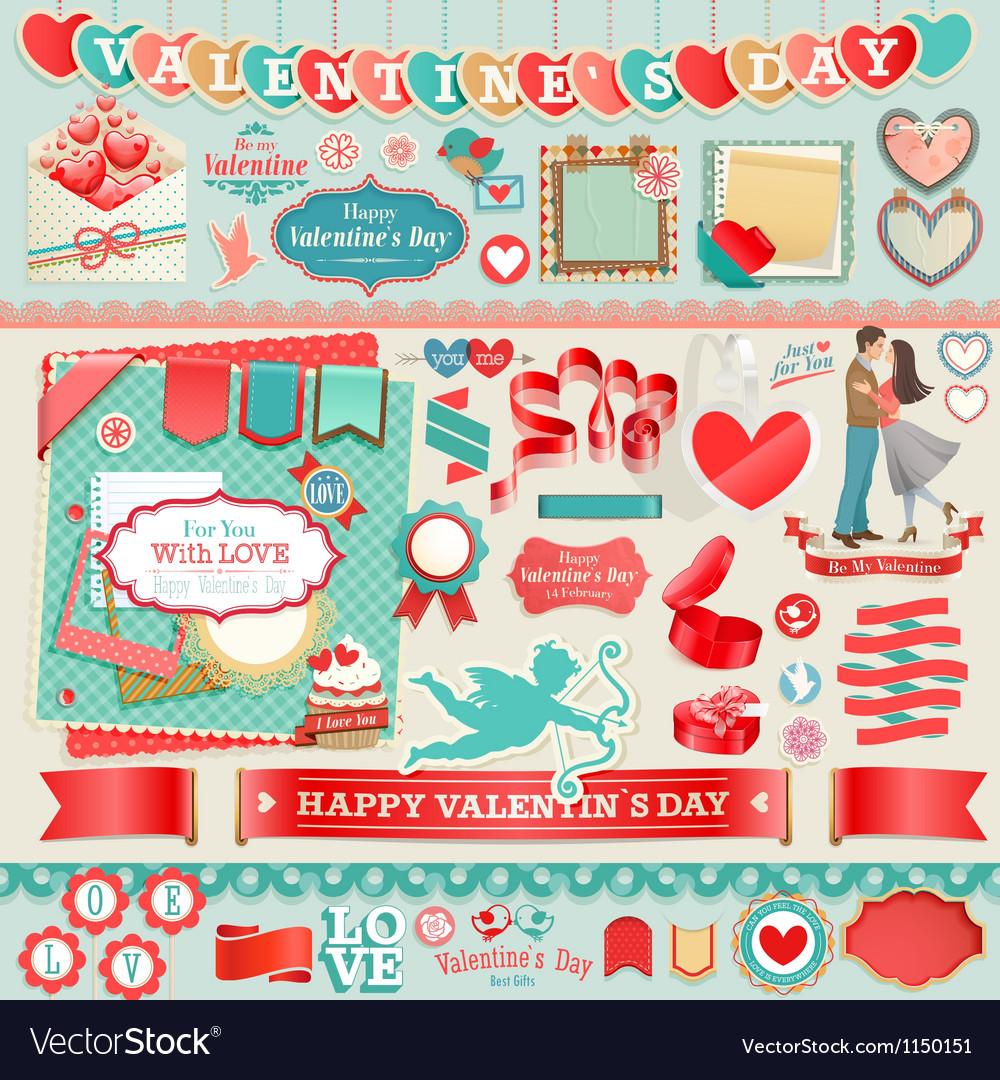 Valentine scrapbook vector image
