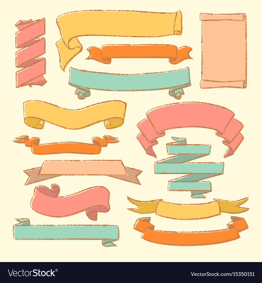 Colorful set of hand drawn banners vector image