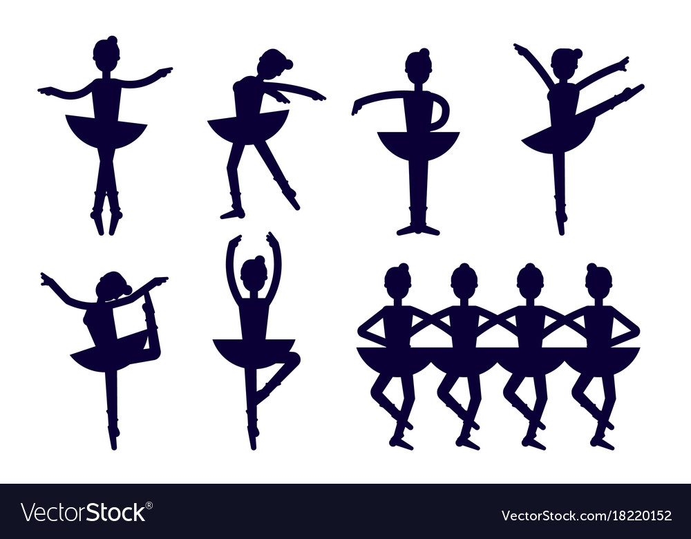 Ballerina silhouette poses isolated on white vector image