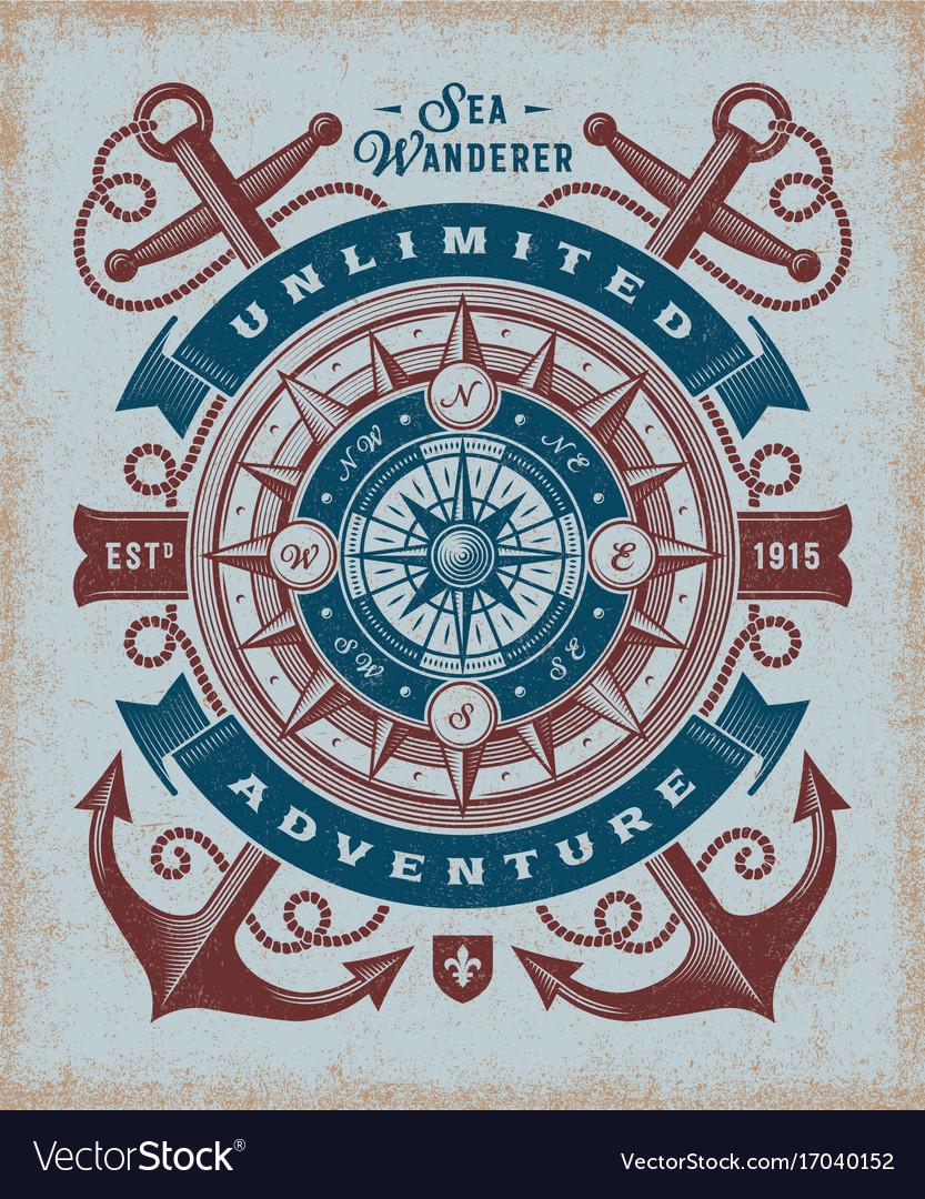Vintage unlimited adventure typography vector image