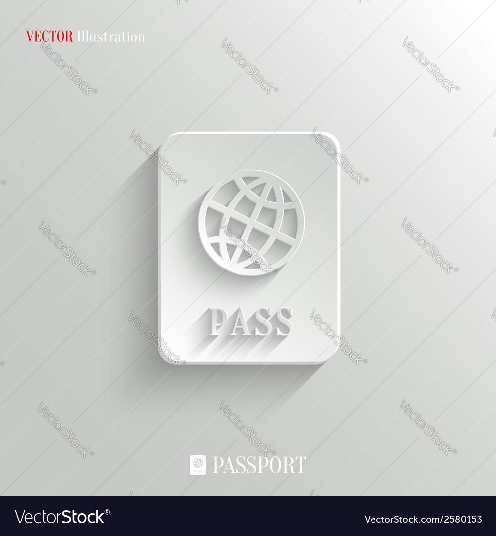 Passport icon - white app button vector image