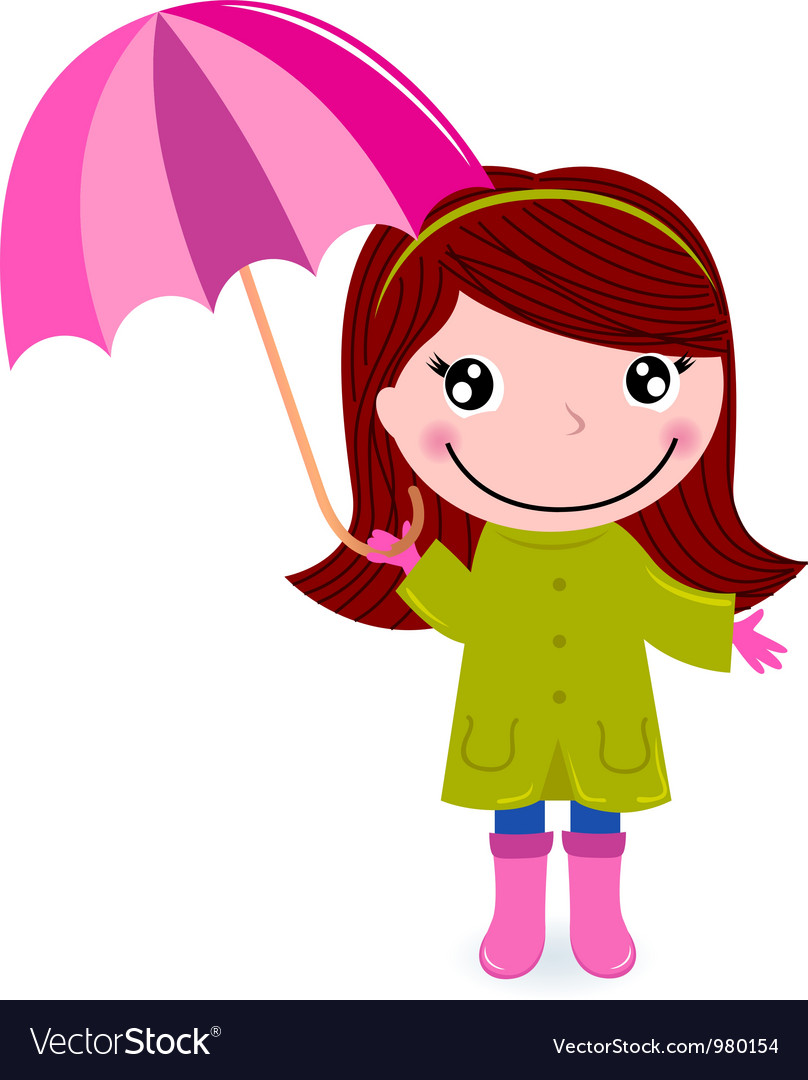 Cute little girl with Umrella in rain vector image