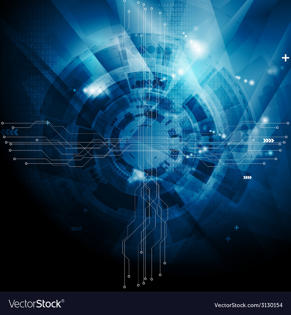 Dark blue tech abstract background vector image