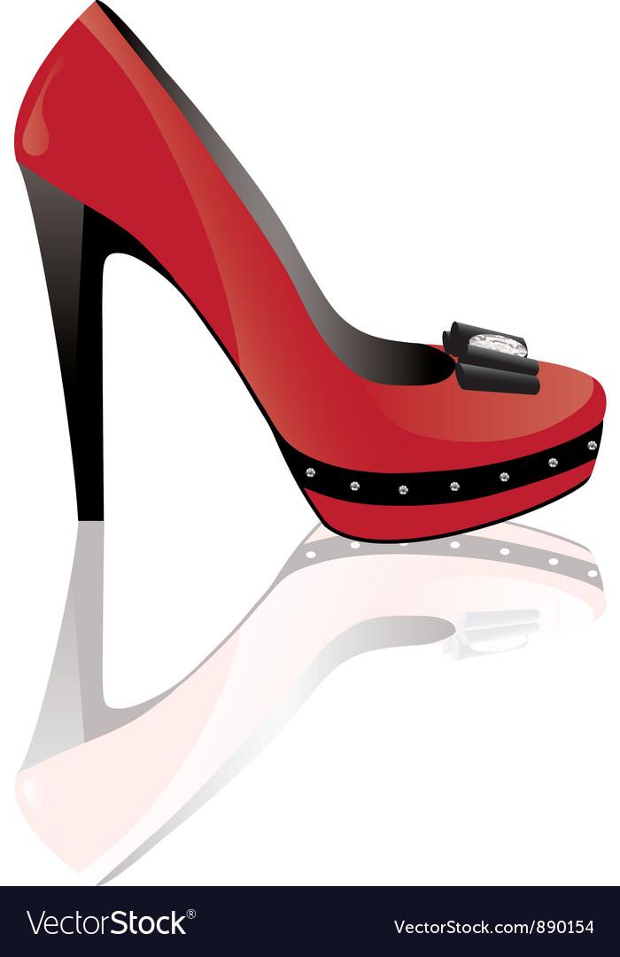 Red high heel shoe vector image