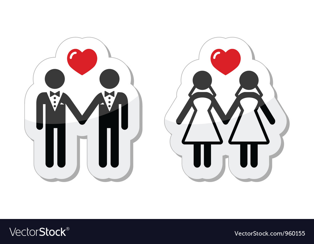 Gay marriage labels vector image