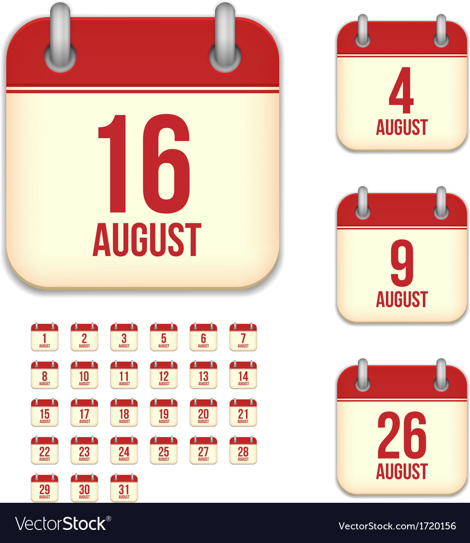 August calendar icons vector image
