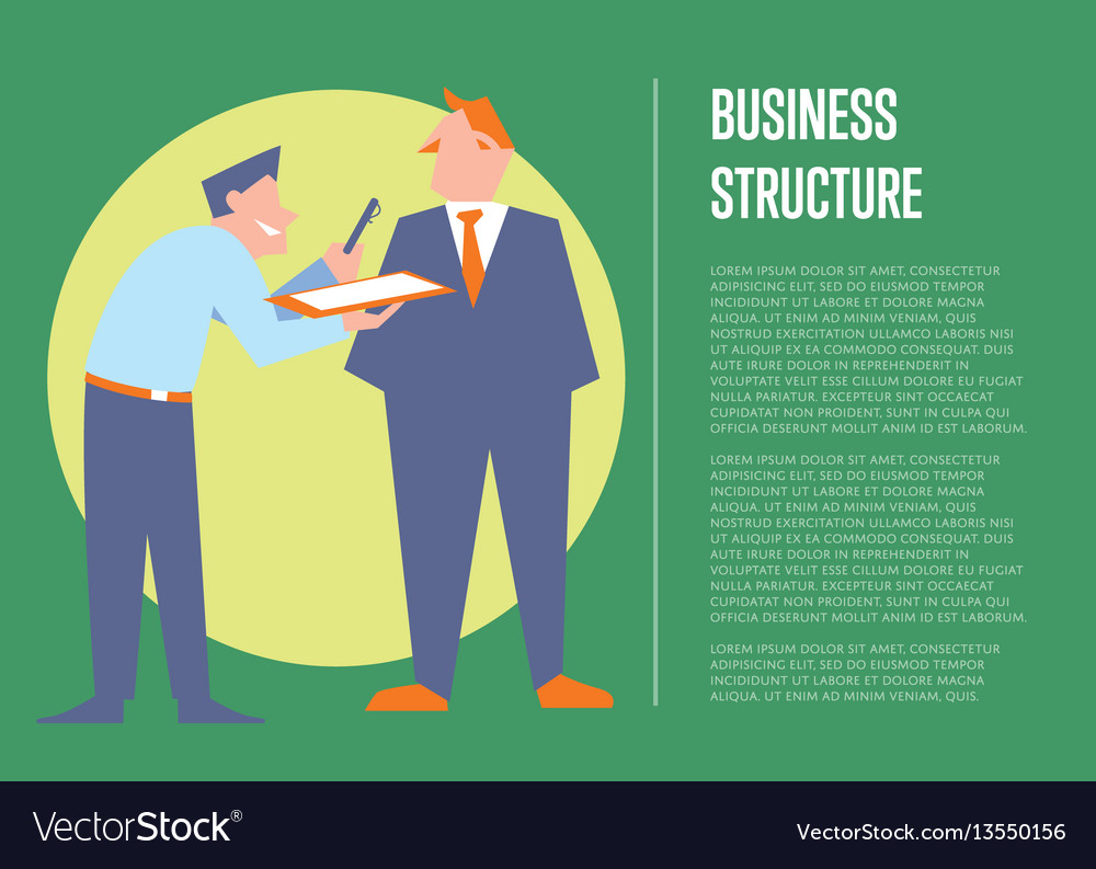 Business structure banner with business people vector image