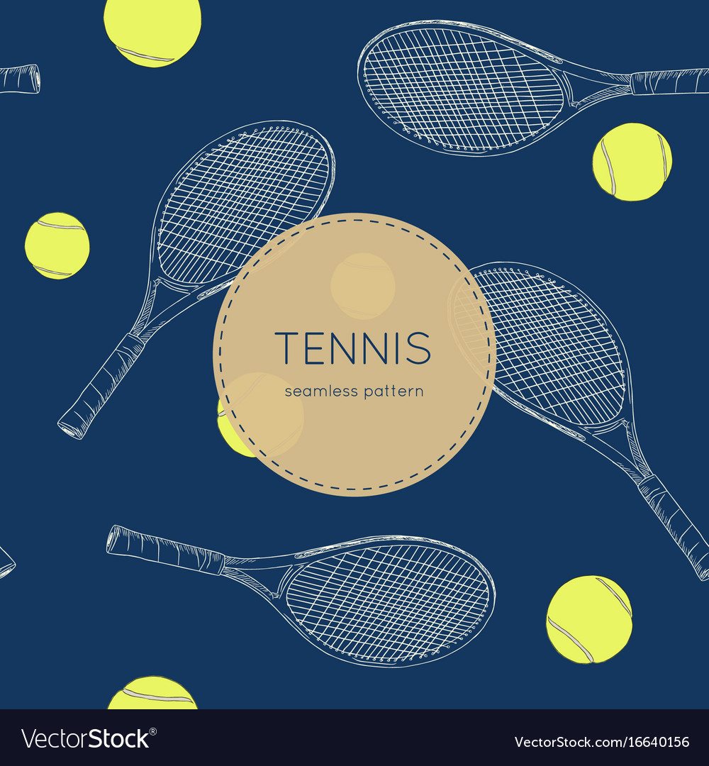 Drawing tennis set seamless vector image