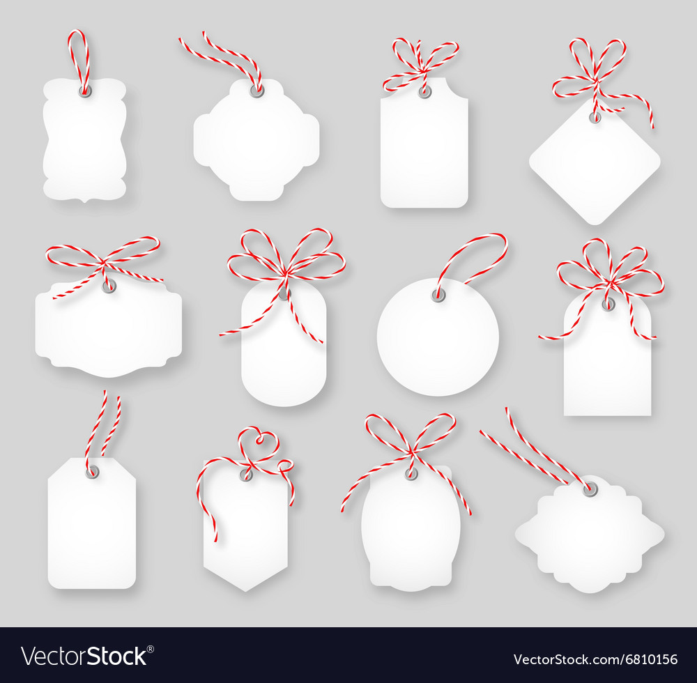 Price tags and gift cards tied up with twine bows vector image