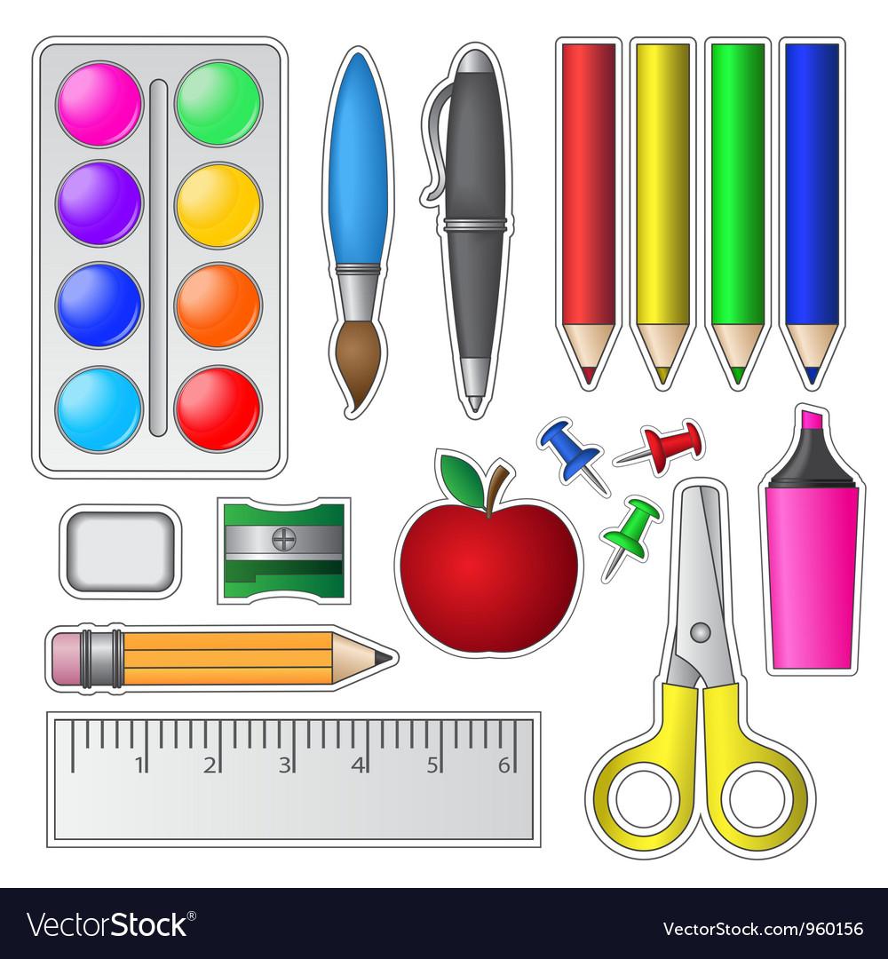 Set Of School Tools And Supplies Vector