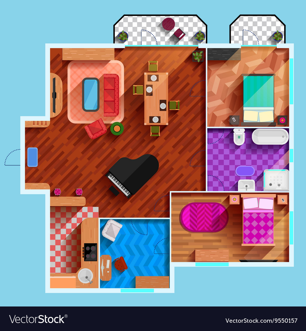Top View Of Interior Of Typical Apartment vector image