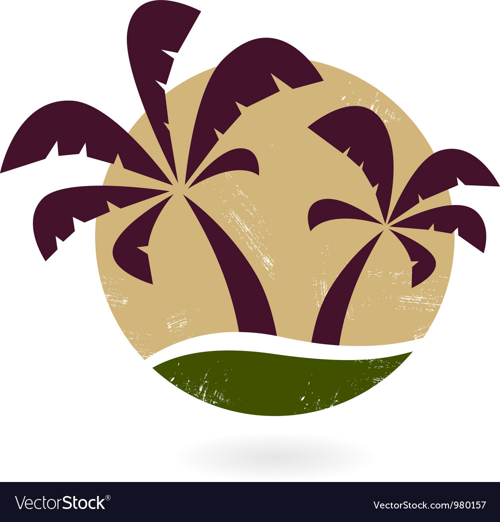 Vintage palm silhouette isolated on white vector image