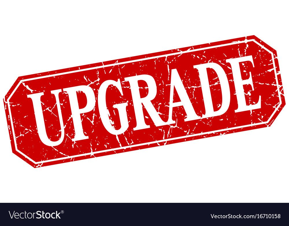 Upgrade red square vintage grunge isolated sign vector image