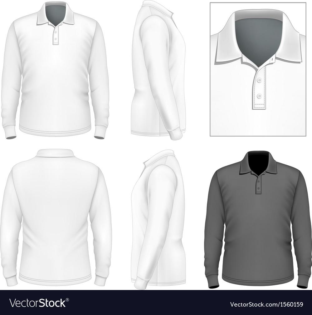 Shirt design for mens - Mens Long Sleeve Polo Shirt Design Template Vector Image