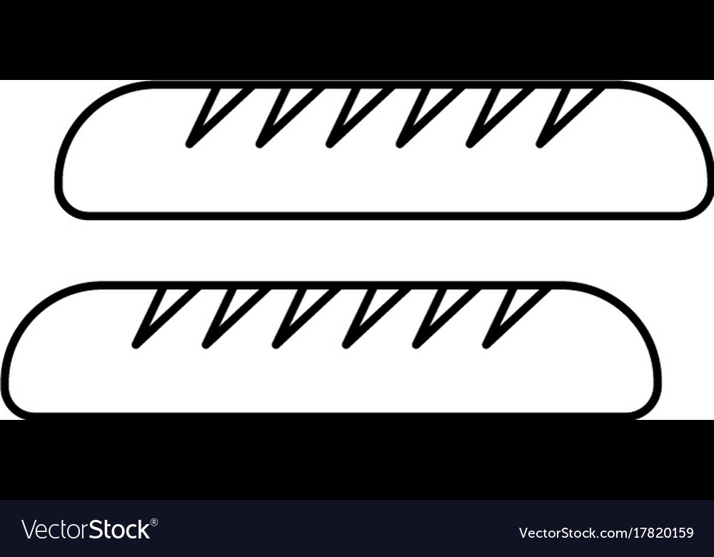 Baguette line icon sign on vector image