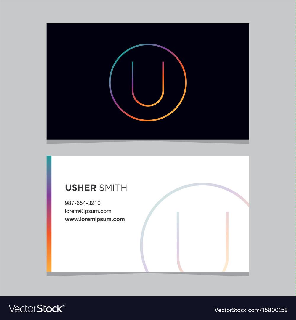 Business-card-letter-u vector image