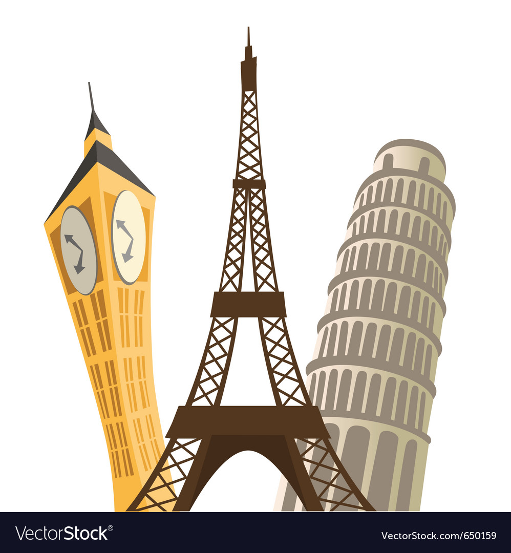 eiffel tower pisa tower and big ben royalty free vector