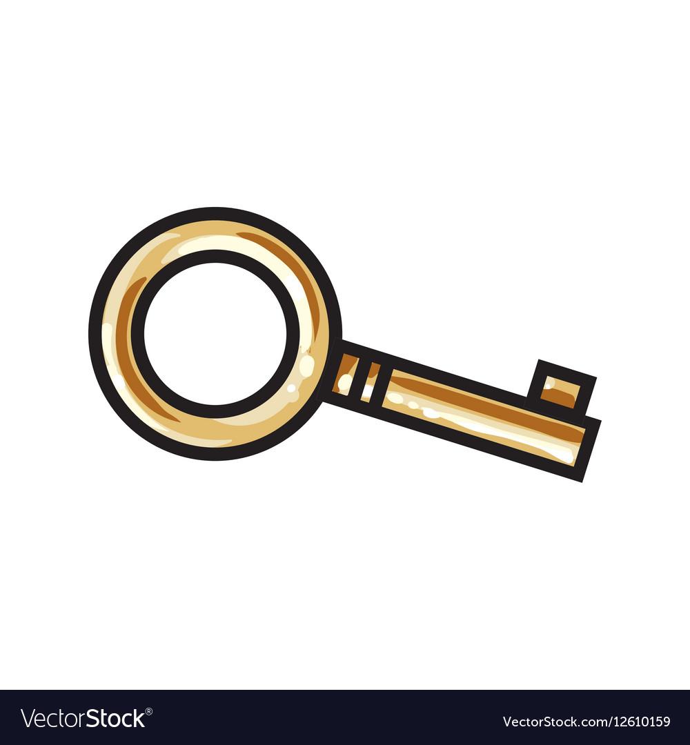 Golden bronze ornamental vintage key for love vector image