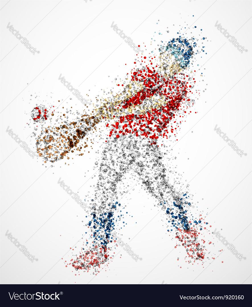 Abstract baseball player vector image