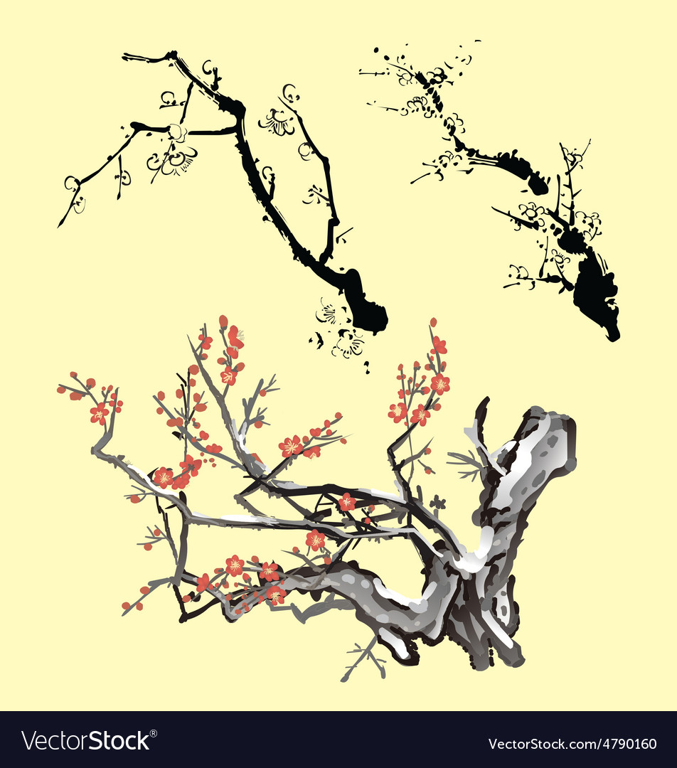 Tree branch oriental ink painting vector image