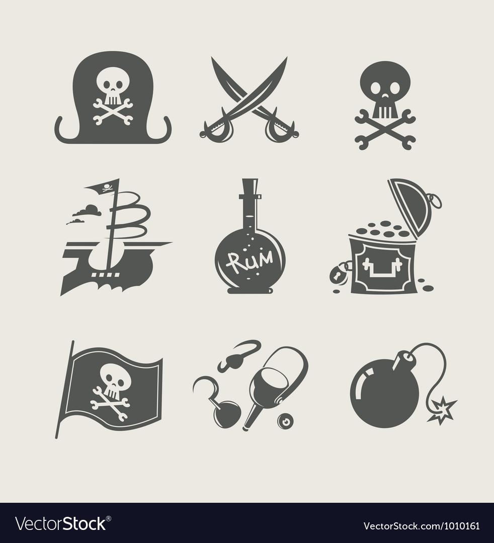 Pirates accessory set of icon vector image